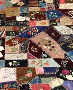 block 57 - I dropped the button box crazy quilt - pink and cream ... : crazy quilt templates free - Adamdwight.com