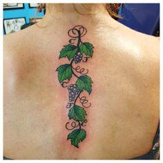 Feminine Grape Vine Tattoo Art for Back