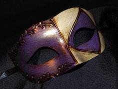 Purple, Cream and Gold Harlequin Mask. $25.00, via Etsy.
