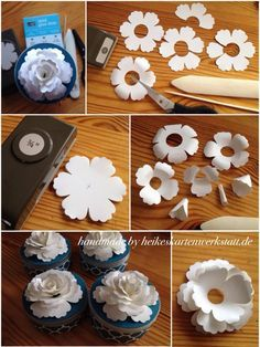 Photo tutorial of how to make a 3-D flower from a flower petal punch.  The words may be in German, not sure, but the pictures show the process well enough to understand how to complete the rose.