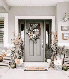 Exterior Front Doors, House Paint Exterior, Farmhouse Front Porches, Small Front Porches, Front Door Colors, Shop Interiors, Patio, Backyard, Mug Designs
