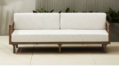 """tropez natural sofa $1,079. Off-white linen-like cushion in weather-resistant polyester fits perfectly with any outdoor decor. Best of all, cushion cover zips right off for easy cleaning. 82"""" Depth: 32.25"""" Height: 30.5"""""""