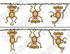 Jungle Monkey Nursery Baby Childrens Wall Border Stickers.