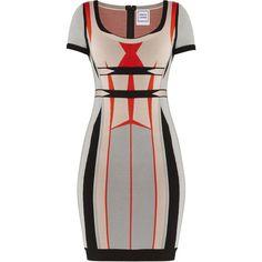 Herve Leger Gabi Engineered Colorblocked Jacquard Dress ($1,440) ❤ liked on Polyvore featuring dresses, block print dress, colorblock dress, herve leger dress, jacquard dress and hervé léger