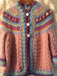 girls hand crochet sweater and hat.Size 4 to 5 by GerardiGallery, $68.00