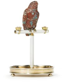 Fabergé carved agate parrot with gilded silver and guilloché enamel stand, workmaster Henrik Wigström, St. Petersburg, 1908