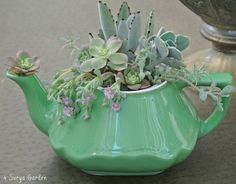 Here are more ideas that you can copy to create your own teapot planters. See more at Top Dreamer Image sources: www.portalanaroca.com.br www.organizedclutter.net www.woohome.com www.prettyhandygirl.com www.organizedclutter.net Save Save