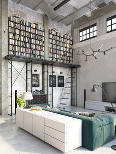 Industrial Style Loft with charming elements to add to your home decor. A breath of fresh air into your industrial style loft. In an industrial style world, the interior design project of today will m Design Loft, Loft Interior Design, Modern House Design, Home Interior, Living Room Interior, Interior Architecture, Apartment Interior, Interior Ideas, Apartment Design
