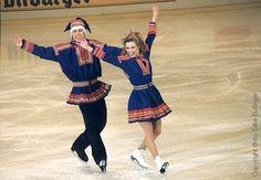 Susanna Rahkamo and Petri Kokko's exhibition number at the 1993 European Championships. Ice Skaters, Ice Dance, European Championships, Marimekko, Figure Skating, Cheer Skirts, Helsinki, Dancing, People
