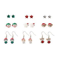 Holiday Star and Glitter Critter Stud and Drop Earrings Set of 9