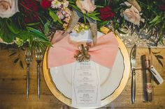 Wedding Menu Tablescape - Vintage Theme with a Cigar Seating Card {Edward Lai Photography} - mazelmoments.com