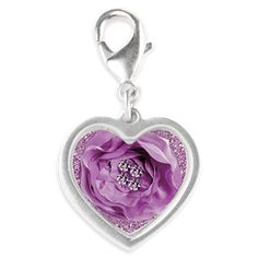 #LavenderRose & #Rhinestones  #SilverHeartCharm by #MoonDreamsDesigns #ValentinesDayGift