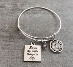Enjoy the little things, little things quote, Silver Jewelry, inspiration, Inspire, Encourage, Recovery, Graduation, Silver Plated Bracelet