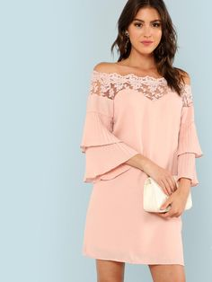 Glamorous Plain Off the Shoulder Three Quarter Length Sleeve Flounce Sleeve Pink Short Length Lace Trim Pleated Layered Flounce Dress Dresses Elegant, Simple Dresses, Vintage Dresses, Short Dresses, Dresses With Sleeves, Pink Fashion, Fashion Outfits, Dress Fashion, Stylish Outfits
