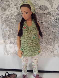Lammily Doll Outfit / Hand Knitted Green Tank by LammilyOutfits
