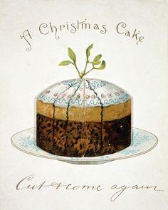 A Christmas Cake, Victorian Christmas card . England, 19th century.