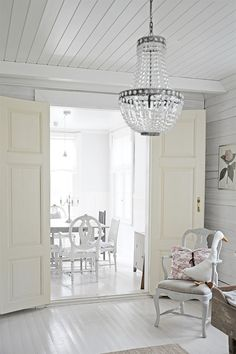 Beautiful Space, White Living, Gustavian, Home, White Silver, Ceiling Lights, Swedish Design, Beautiful Homes, White