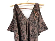 Silk Sequins Caftan Brown Black Plus Size One Size by ginette1223, $59.00