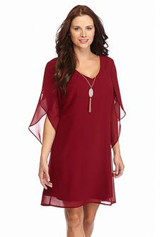 Luxology™ Tulip Sleeve Shift Dress with Necklace