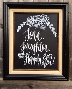 Love Laughter and Happily Ever After Wedding Sign by pippaandfig