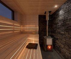 Finde minimalistisches Spa Designs von INT2architecture. Entdecke die schönsten Bilder zur Inspiration für die Gestaltung deines Traumhauses. Spa Design, Design Sauna, Diy Sauna, Sauna Steam Room, Sauna Room, Black And Silver Wallpaper, Sauna Lights, Modern Saunas, Mobile Sauna