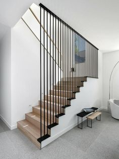 House 007 By Dick Clark Associates Stairs Design Associates Clark Dick House Stair Railing Design, Home Stairs Design, Interior Stairs, House Design, Interior Railings, House Staircase, Staircase Railings, Staircase Ideas, Spiral Staircases