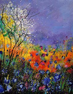 Wild Flowers 4110 Painting  - Wild Flowers 4110 Fine Art Print