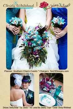 Blues, purples and greens along with peacock feathers in this gorgeous bouquet we did for our mock bride and bridesmaids. Lots of peacock feather accents!    Christy Whitehead Photography shot the photos at the Jacksonville Zoo and Gardens.  www.Fantasyflowersjax.com  www.ChristyWhiteheadPhotography.com