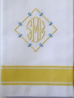 Carousel Summer Towel from Grace Hayes Linens. Monogram Towels, Monogram Pillows, Embroidery Monogram, Embroidery Designs, Monogram Design, Monogram Styles, Monogram Fonts, Monogram Shirts, Linen Towels