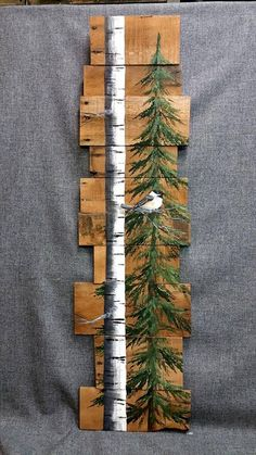 wooden pallet wall bird and tree art