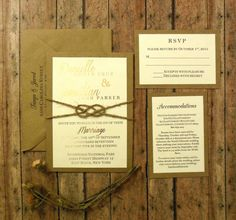 Gold Blush Rustic Wedding Invitation Foil Twine Knot https://www.etsy.com/listing/266754729/gold-foil-and-twine-knot-rustic-custom?ref=listings_manager_grid