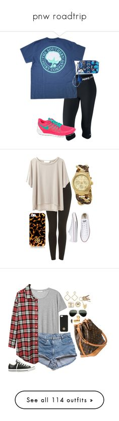 """""""pnw roadtrip"""" by prepppppppy ❤ liked on Polyvore featuring NIKE, Vera Bradley, Tory Burch, Topshop, Grey Line By Hussein Chalayan, Converse, Michael Kors, R13, Louis Vuitton and Betty Carré"""