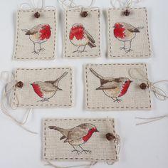 Cross Stitch Robin Gift Tag 1 by MadeByRachel on Etsy