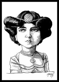 Caricatura de Delmira Agustini (tinta china)