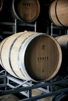 Zonzo Estate wine barrels containing our debut vintage