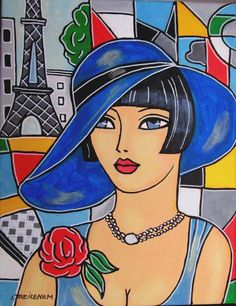 Laurence Treizenem - La Parisienne Acrylic on canvas. Canvas s. Art Deco Illustration, African Art Paintings, Puzzle Art, Face Art, Art Girl, Watercolor Art, Pop Art, Art Drawings, Abstract Art