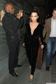 PHOTOS: Kim Kardashian Tries A Plunging Velvet Jumpsuit - Kim Kardashian Style