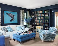 "additional ideas for the library. Peacock Blue Library featured in Elle Decor for Patricia Lansing [via ""Travel For Design""] Decor, Bookshelves Built In, Blue Living Room, Family Room, White Sofas, Furniture, Living Room Designs, Room, Room Design"