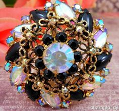 "Vintage Black Rhinestone AB Crystal Brooch Pin Floral Scroll Tiered Gold Tone 2"" #Unbranded"