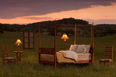 Exterior photograph of bed in a field.  Photograph was taken for Irish Hollow Inn located in Galena Illinois.