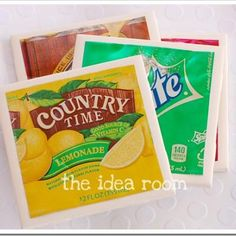 DIY coasters: Cut up a soda can and flatten. Get some glue and adhere to a tile (Home Depot. $0.16 a piece!) Voila! Creative coasters!