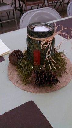 Hunting Themed Centerpiece Used For Decorating A Father S Day Table