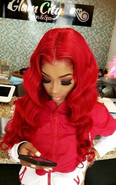 Red Wigs Lace Frontal Wigs Green Cosplay Wig Red Hair Pieces Clip In M – eggplantral My Hairstyle, Wig Hairstyles, Hairstyle Ideas, Red Hair Pieces, Wig Styling, Drawstring Ponytail, Red Wigs, Body Wave Hair, Human Hair Lace Wigs