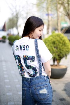 "Get your customized shirt with numbers, letters, and funky prints from www.IDOTSHIRT.com and get a 20% discount by using this code ""IDO4KMODEL"" until the end of April KOREANMODEL street-style projectfeaturing Sim So Young shot by Ahn Hong Je"