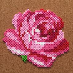 Rose flower perler hama beads by Tsubasa Yamashita Perler Bead Designs, Hama Beads Design, Diy Perler Beads, Pearler Beads, Fuse Beads, Pixel Beads, Melty Bead Patterns, Pearler Bead Patterns, Bead Embroidery Patterns