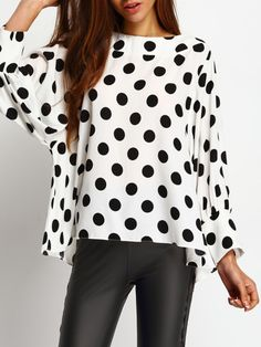 Shop Polka Dots Batwing Sleeve Blouse online Australia,SHEIN offers huge selection of Blouses more to fit your fashionable needs.Black Polka Dots Batwing Sleeve Blouse — € -----------------color: Black and White size: L,M,SOnline shopping for Bow Batwing Top, Batwing Sleeve, Moda Outfits, Trendy Outfits, Polka Dot Blouse, Polka Dots, Spring Wear, Spring Shirts, Black And White Blouse