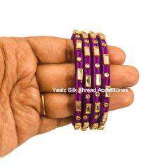 Yaalz Silk Thread Kundan Stone Bangle Set In Purplish Pink Color Silk Thread Earrings Designs, Silk Thread Bangles Design, Silk Thread Necklace, Jewelry Design Earrings, Kundan Bangles, Silk Bangles, Bridal Bangles, Fancy Jewellery, Thread Jewellery