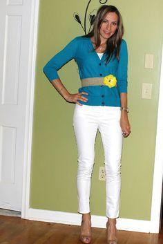 Casual Chic Mom: LOFT Bright Teal Cardigan & GAP White Jeans, LOFT Yellow Flower Jute Belt
