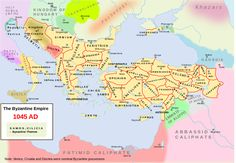 Map of Byzantium around 1045 showing the different themes