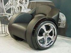 #ManCave decor: car-inspired chair.